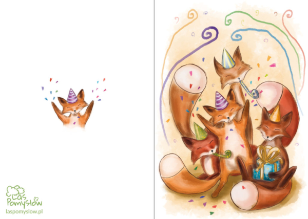 Kartka urodzinowa-liski