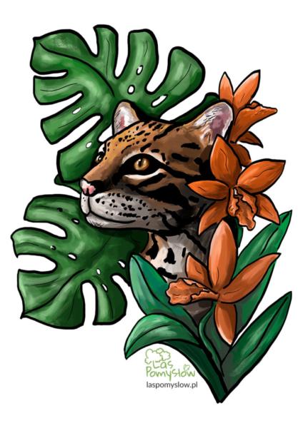 Ocelot i tropikalne rośliny