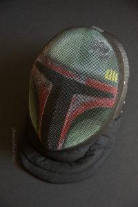 malowana maska szermiercza Boba Fett