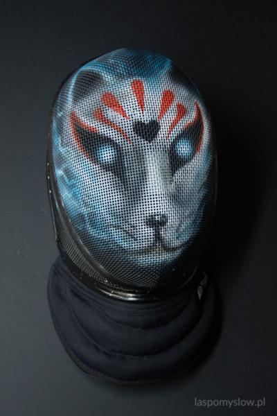 malowana maska szermiercza Kitsune