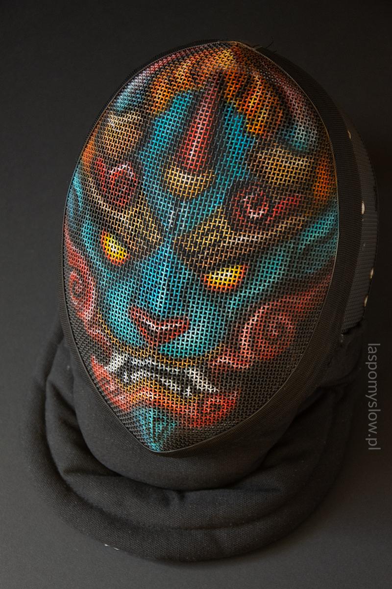 malowana maska szermiercza Firewalker